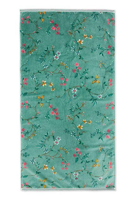Handdoek-XL-bloemen-print-groen-70x140-les-fleurs-katoen