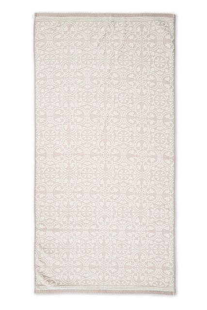Handdoek-XL-barok-print-khaki-70x140-tile-de-pip-katoen