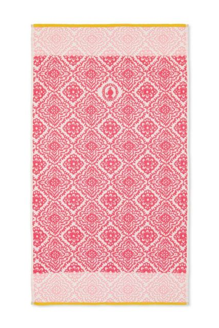 Bath-towel-dark-pink-55x100-jacquard-check-pip-studio-cotton-terry-velour