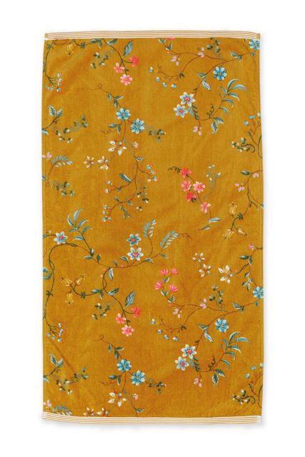 Douchelaken-handdoek-bloemen-geel-55x100-les-fleurs-pip-studio-katoen-terry-velour