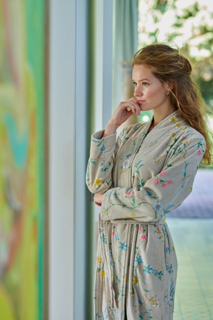 Bathrobe-khaki-floral-les-fleurs-pip-studio-cotton-terry-velour