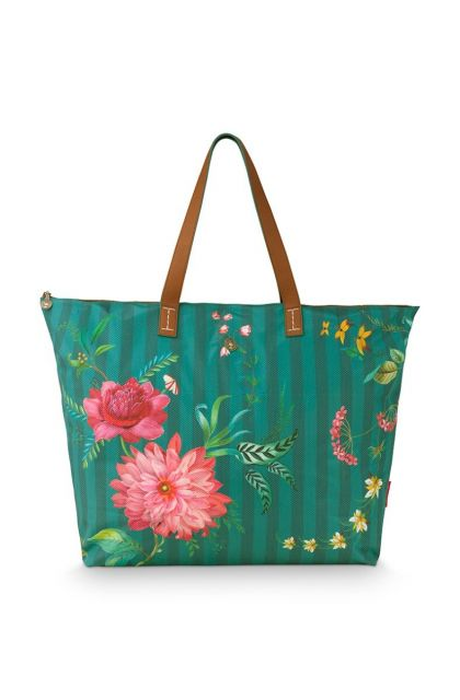 beach-bag-fleur-grandeur-groen-66x20x44-cm-nylon/satin-1/24-pip-studio-51.273.234