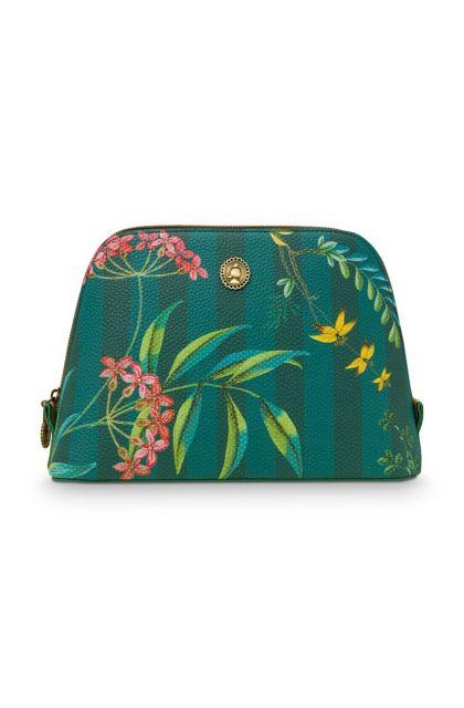 cosmetic-bag-triangle-medium-fleur-grandeur-green-24/17x16.5x8-cm-artificial-leather-1/24-pip-studio-51.274.131
