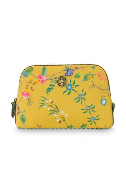 cosmetic-bag-triangle-small-petites-fleurs-yellow-19/15x12x6-cm-nylon/satin-1/36-pip-studio-51.274.130