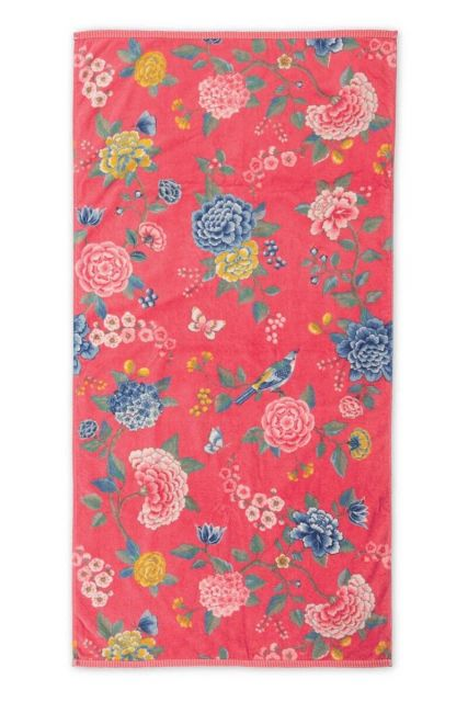 Bath-towel-xl-floral-coral-70x140-good-evening-pip-studio-cotton-terry-velour