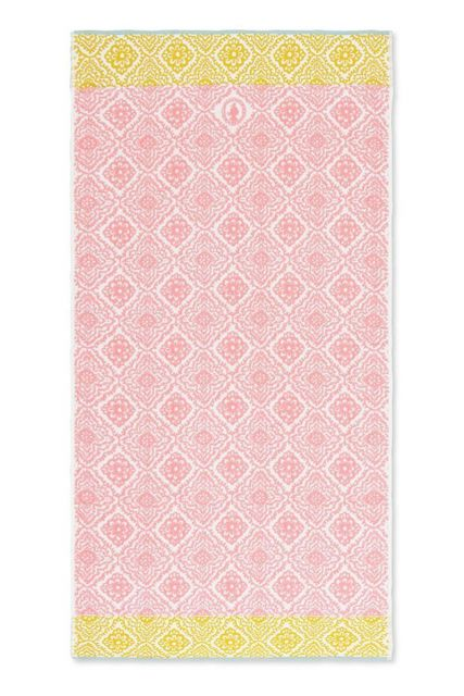 Bath-towel-xl-pink-bohemian-70x140-jacquard-check-pip-studio-cotton-terry-velour