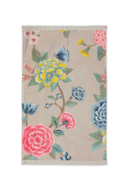Guest-towel-khaki-floral-30x50-good-evening-pip-studio-cotton-terry-velour