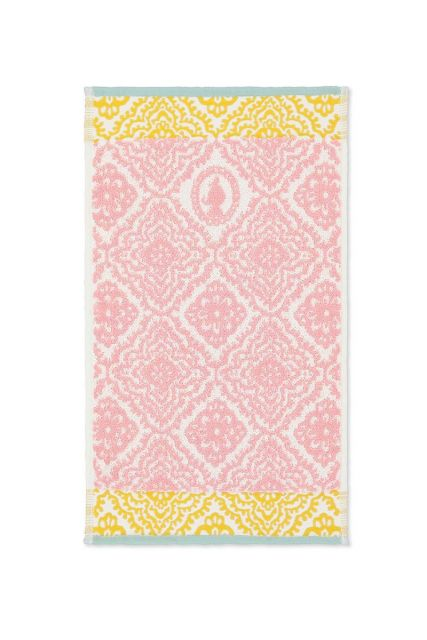 Gastendoek-roze-bloemen-30x50-jacquard-check-pip-studio-katoen-terry-velour