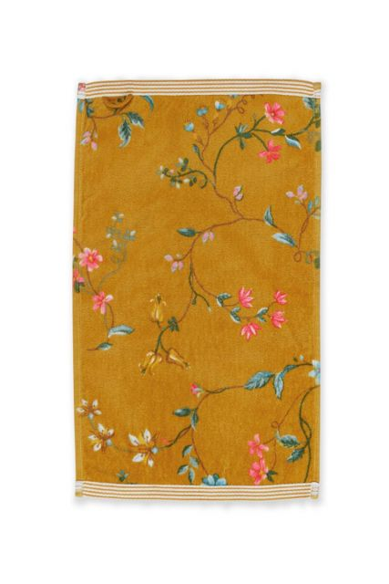 Gastendoek-geel-bloemen-30x50-les-fleurs-pip-studio-katoen-terry-velour