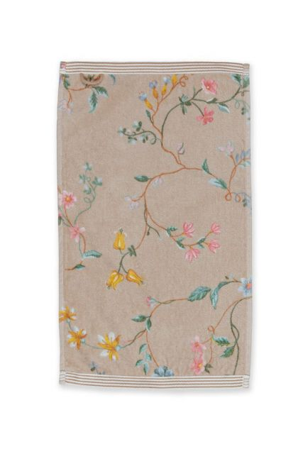 Guest-towel-khaki-30x50-les-fleurs-pip-studio-cotton-terry-velour