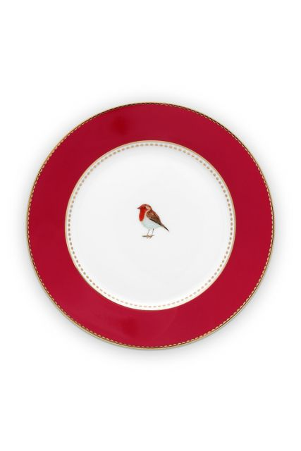 Gebaks-bordje-17-cm-rood-gouden-details-love-birds-pip-studio