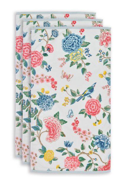 Handdoek-set/3-bloemen-print-wit-55x100-good-evening-katoen