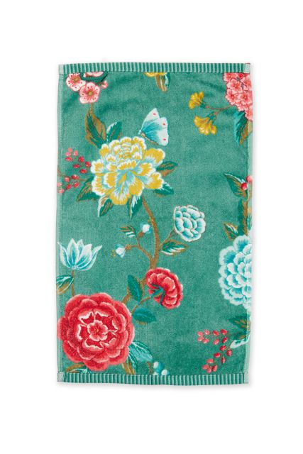 Guest-towel-green-floral-30x50-good-evening-pip-studio-cotton-terry-velour