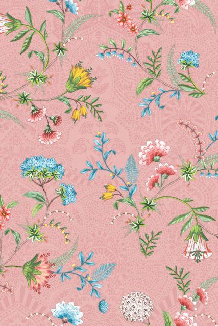 wallpaper-non-woven-vinyl-flowers-pink-pip-studio-la-majorelle