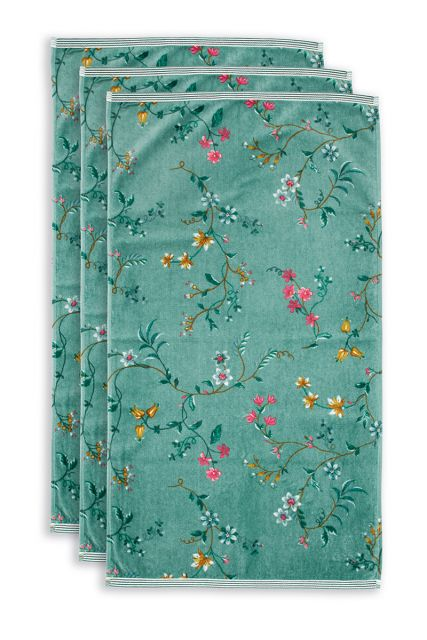Handtuch-set/3-blumen-drucken-grün-55x100-les-fleurs-baumwolle