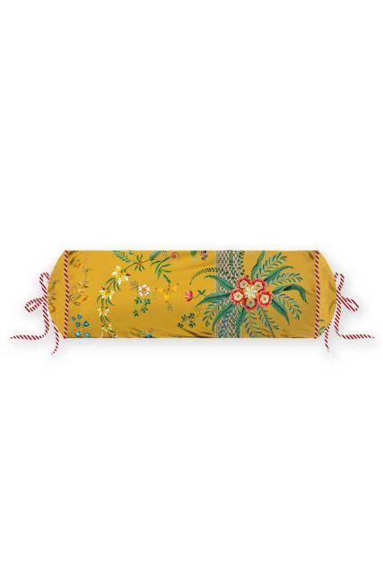 kussen-geel-bloemen-rolkussen-sierkussen-petites-fleurs-pip-studio-22x70-katoen
