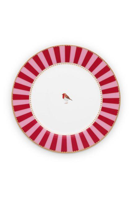 früstück-teller-21-cm-rot-rosa-goldene-details-love-birds-pip-studio