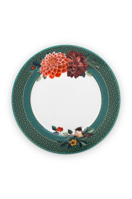 ontbijt-bord-winter-wonderland-van-porselein-met-een-vogel-en-bloemen-in-groen-21-cm