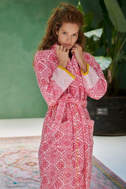 Bathrobe-dark-pink-aztec-jacquard-check-pip-studio-cotton-terry-velour