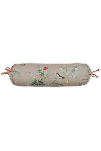 kussen-khaki-bloemen-rolkussen-sierkussen-floris-pip-studio-22x70-katoen