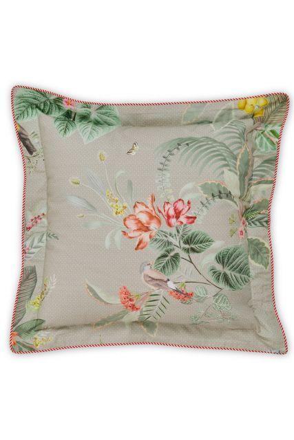 kussen-khaki-bloemen-vierkant-sierkussen-floris-pip-studio-45x45-katoen