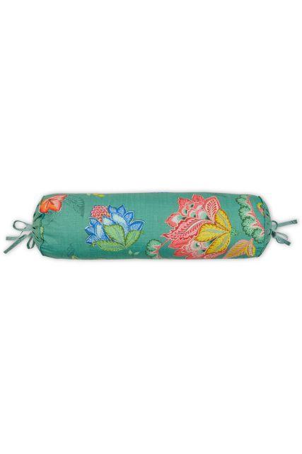 kussen-groen-bloemen-rolkussen-sierkussen-jambo-flower-pip-studio-22x70-katoen