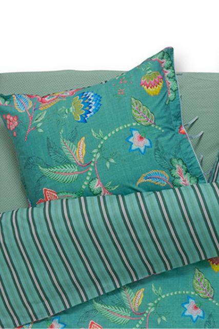 kussensloop-groen-bloemen-kussenhoes-jambo-flower-pip-studio-2-perosonen-60x70-40x80-katoen