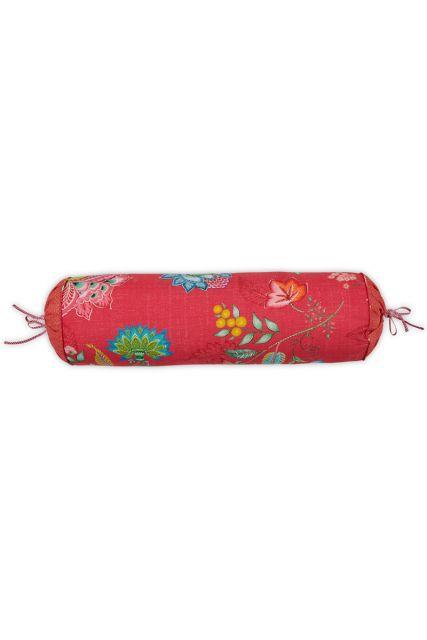 kussen-rood-bloemen-rolkussen-sierkussen-jambo-flower-pip-studio-22x70-katoen