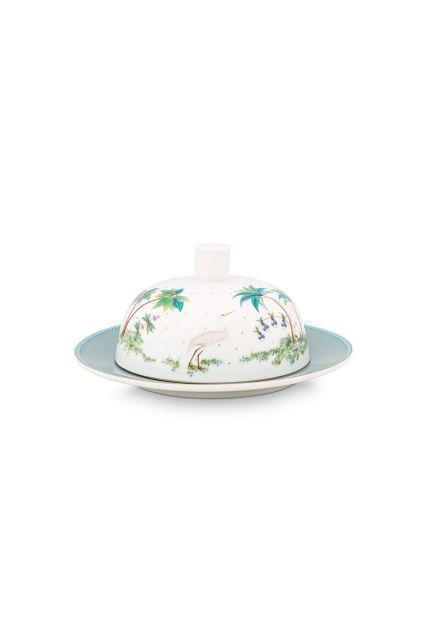 porcelain-butter-dish-round-jolie-dots-gold-17x8-cm-4/24-white-blue-pip-studio-51.018.110
