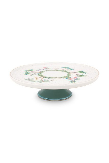 porselein-mini-cake-tray-jolie-dots-gold-21-cm-1/8-wit-groen-flowers-pip-studio-51.018.108