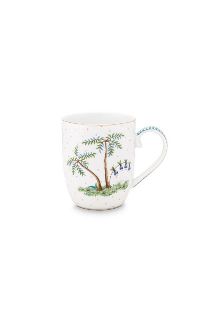 porcelain-mug-small-jolie-dota-gold-145-ml-6/48-white-palmtrees-pip-studio-51.002.241