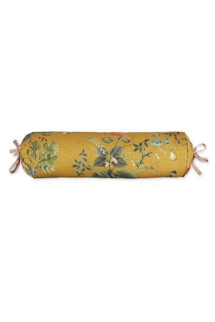 kussen-geel-bloemen-rolkussen-sierkussen-fall-in-leave-pip-studio-22x70-katoen