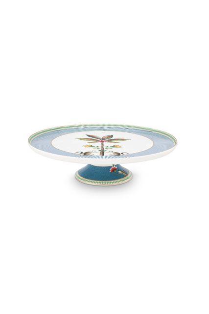 rond-taartplateau-la-majorelle-van-porselein-met-een-palmboom-in-blauw-30,5-cm