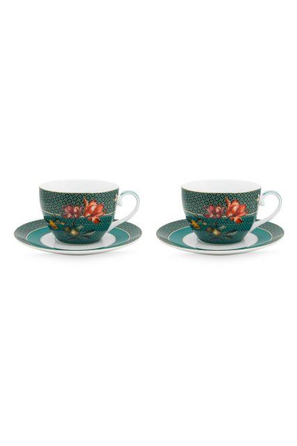 set-2-cappuccino-kop-en-schotel-winter-wonderland-van-porselein-met-bloemen-in-groen