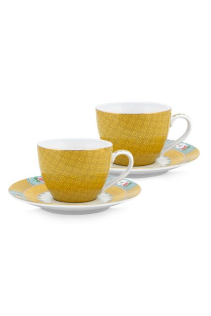 set-2-espresso-kop-en-schotel-blushing-birds-van-porselein-in-geel