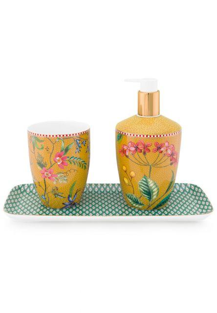 Badkamer-accesoires-badkamerschaal-groen-geel-set/3-petites-fleurs-pip-studio-27x12x1,5