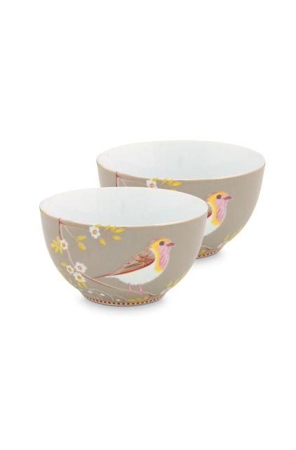 Early Bird Set of 2 Bowls Khaki 15 cm