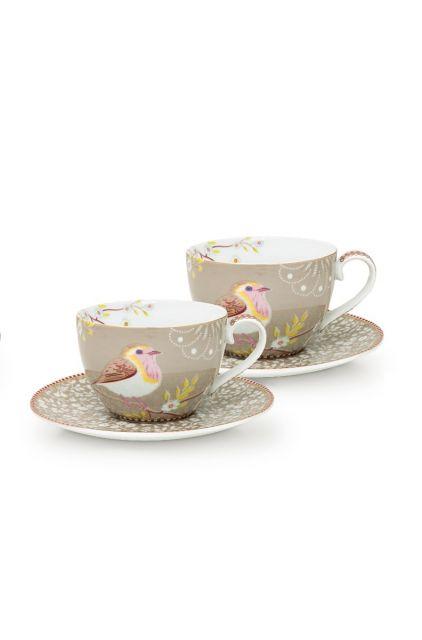 Early Bird Set/2 Cappuccino Tassen & Untertassen Khaki