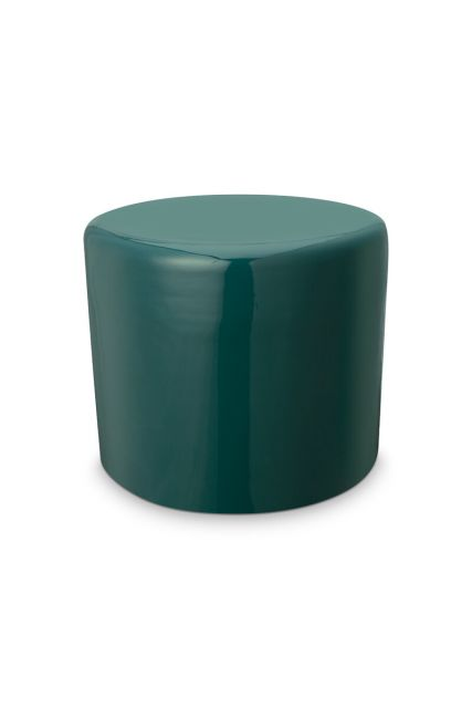 Kruk-poef-donker-groen-metaal-pip-studio-43x36-cm