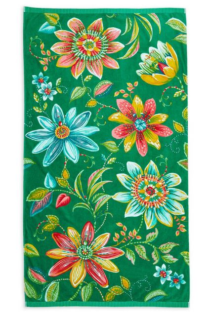 Beach-towel-green-floral-100x180-exoticana-pip-studio-cotton-terry-velour