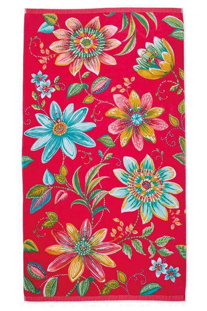 Beach-towel-pink-floral-100x180-exoticana-pip-studio-cotton-terry-velour
