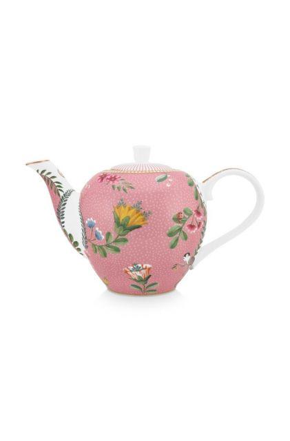 theepot-klein-la-majorelle-van-porselein-met-bloemen-in-roze