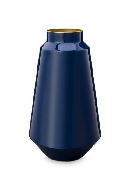 Vase-tall-dark-blue-metal-royal-pip-studio-36-cm