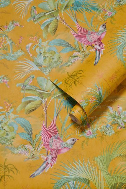 wallpaper-non-woven-vinyl-paradise-bird-palms-yellow-pip-studio-palm-scene