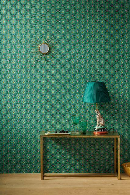 tapete-vliestapete-regentropfen-blümen-grün-pip-studio-raindrops