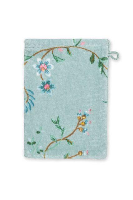 Washandje-blauw-bloemen-16x22-les-fleurs-pip-studio-katoen-terry-velour