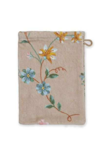 Washandje-khaki-bloemen-16x22-les-fleurs-pip-studio-katoen-terry-velour