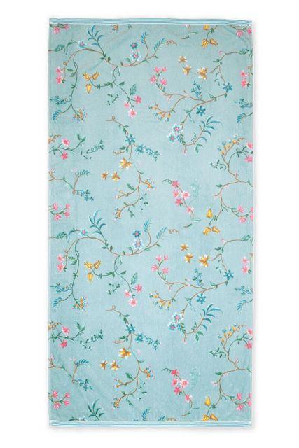 Douchelaken-handdoek-xl-blauw-70x140-les-fleurs-pip-studio-katoen-terry-velour