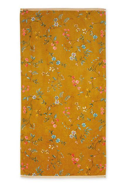 Douchelaken-handdoek-xl-bloemen-geel-70x140-les-fleurs-pip-studio-katoen-terry-velour