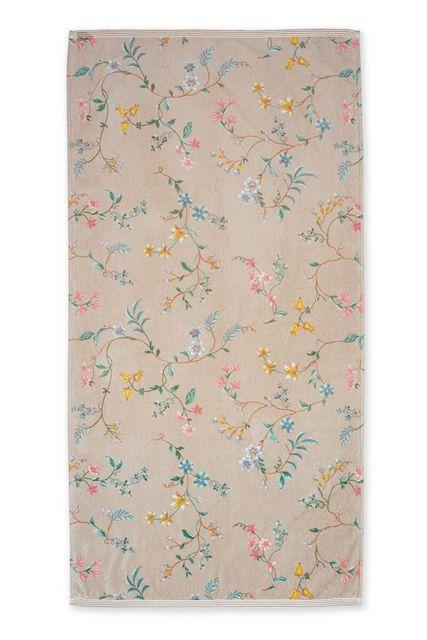 Douchelaken-handdoek-xl-bloemen-khaki-70x140-les-fleurs-pip-studio-katoen-terry-velour